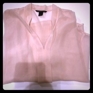 Victoria's Secret Sheer Chiffon V Neck Lt Pink Top